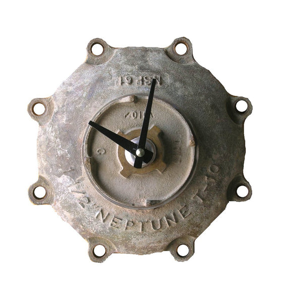Brass NEPTUNE meter cover wall clock, industrial decor