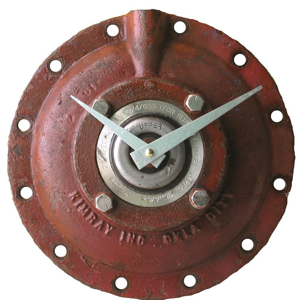 Large industrial wall clock made from salvaged steel - PaulaArt