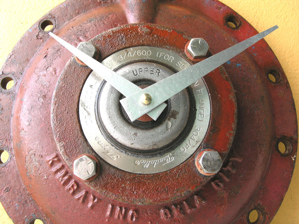 close up of red valve cover wall clock - PaulaArt