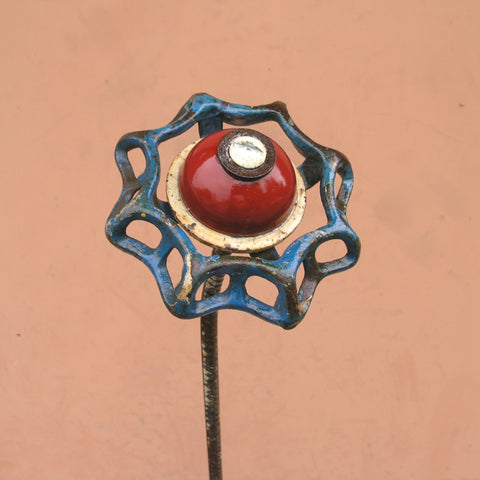 Tall red white & blue upcycled faucet handle garden stake flower - PaulaArt