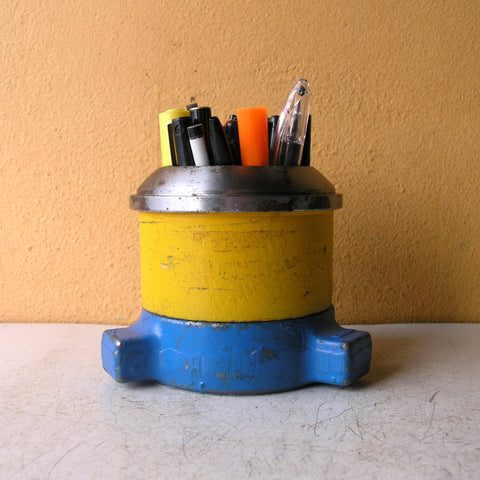 blue yellow silver pencil holder, industrial metal office organizer