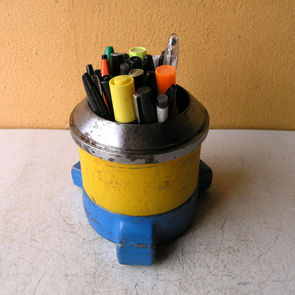 Blue yellow & silver pencil holder - PaulaArt