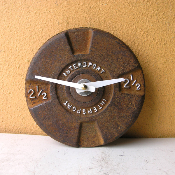 2 1/2 lb Barbell Wall Clock upcycled metal weight plate
