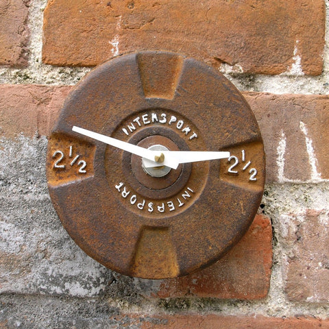 Barbell wall clock upcycled metal weight plate