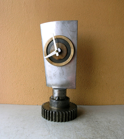 upcycled jet engine blade table clock