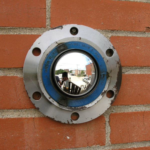 Salvaged steel indoor outdoor wall mirror