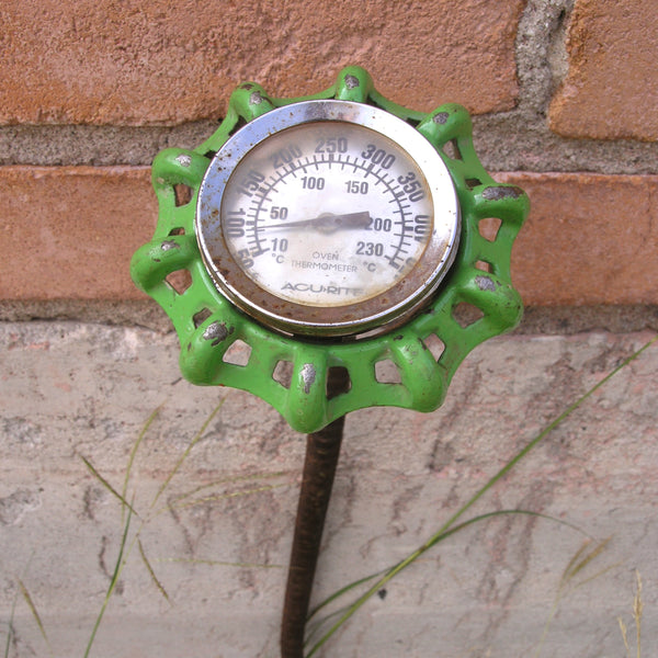 "RESERVED FOR L 28"" tall green faucet flower, steampunk garden stake yard art - PaulaArt"