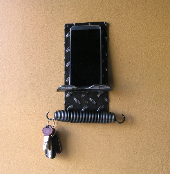 diamond plate steel phone key rack