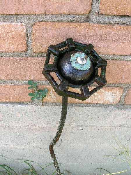 "34"" dark green faucet flower tall garden stake metal art - PaulaArt"