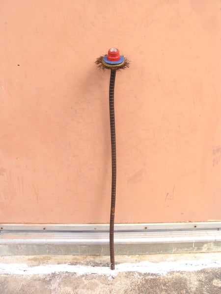 "28"" rusty red & blue tall garden stake, junk flower metal yard art - PaulaArt"