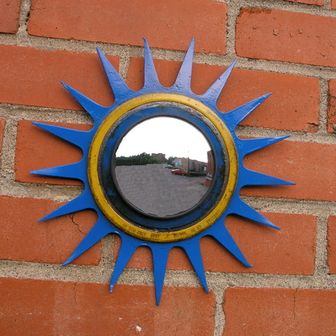 Handcrafted sunburst tiller garden mirror, blue yellow country wall decor - PaulaArt