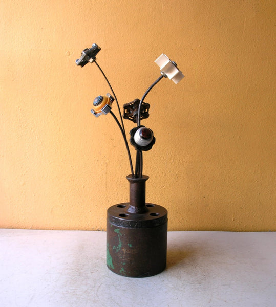Green & brown industrial flower vase from salvaged steel - PaulaArt
