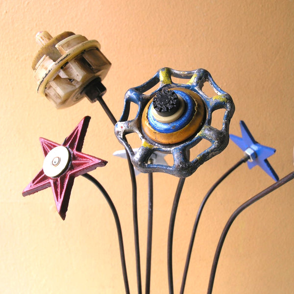 "23"" tall blue faucet handle flower, handmade upcycled metal art - PaulaArt"