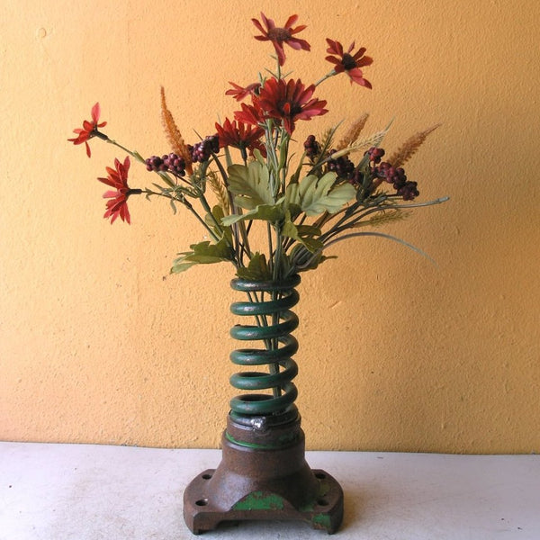 "7"" tall industrial green table vase, upcycled spring with found metal base - PaulaArt"