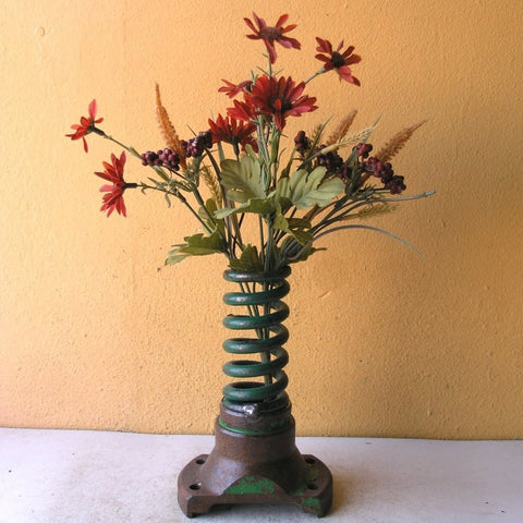 "7"" tall industrial table vase, upcycled green coil & found metal - PaulaArt"