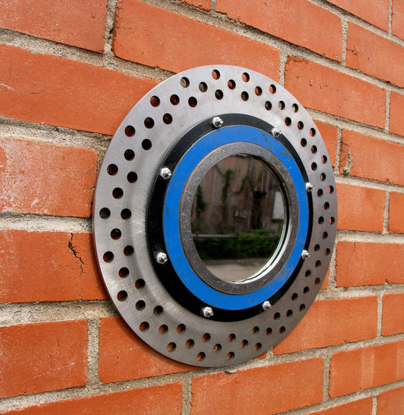 Industrial wall mirror made from motorcycle rotor & found metal - PaulaArt