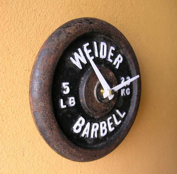 Vintage Weider Barbell Wall Clock, Weightlifting Sports Equipment Decor Gift Idea - PaulaArt