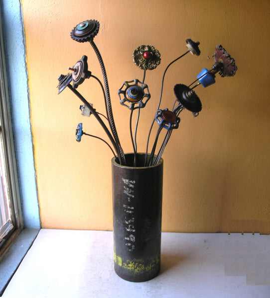 "29"" tall garden stake, upcycled junk flower with turquoise center on rebar stem - PaulaArt"