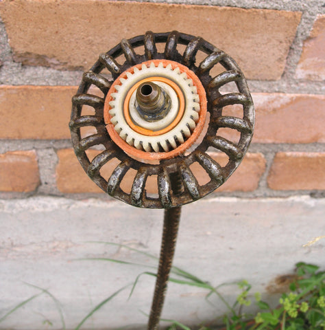 "32"" tall faucet flower upcycled metal flower yard art - PaulaArt"