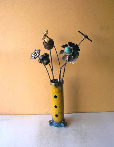 industrial flower vase, metal flowers not included