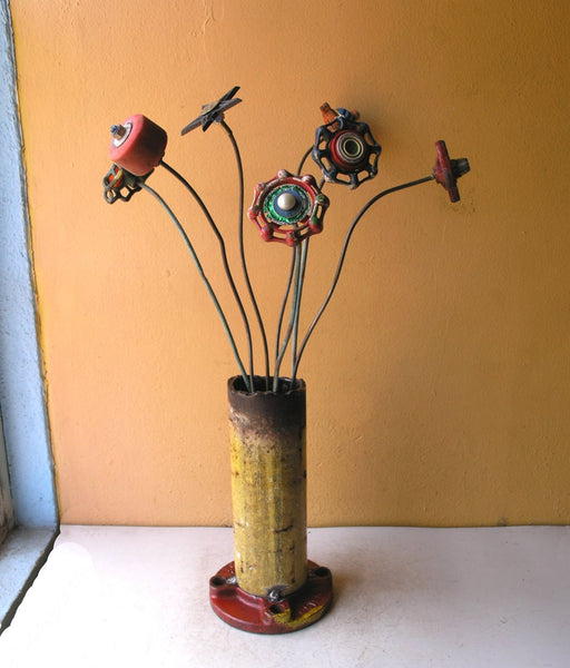 Industrial red & yellow flower vase, salvaged steel pipe shown with metal flowers (not included)