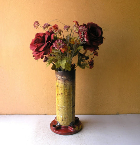 Industrial red & yellow flower vase, salvaged steel pipe