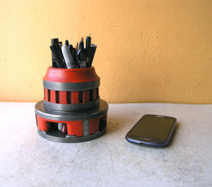 Industrial orange pencil holder from salvaged tool - PaulaArt