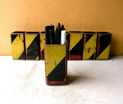 salvaged steel tube pencil holder for desk