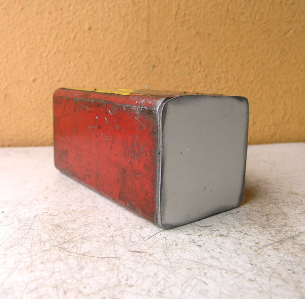 bottom of pencil holder made from salvaged aluminum