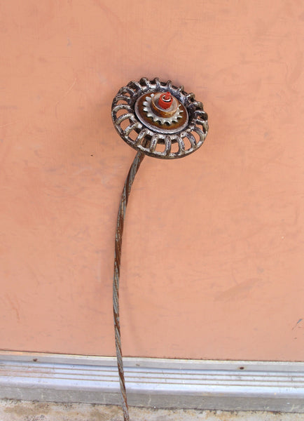 "24"" handmade faucet handle flower with upcycled cable stem - PaulaArt"