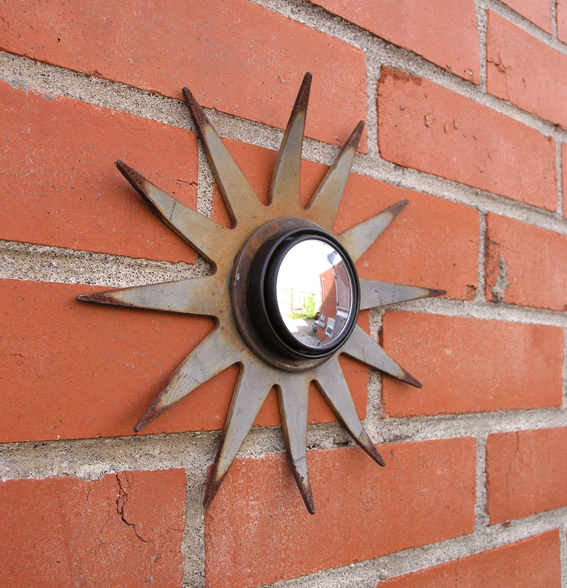 Sunburst wall mirror, repurposed upcycled old farm tiller blade
