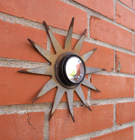 gray sunburst mirror upcycled tiller blade rustic garden decor