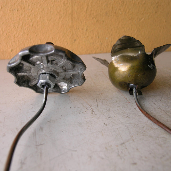 back view of upcycled metal flowers