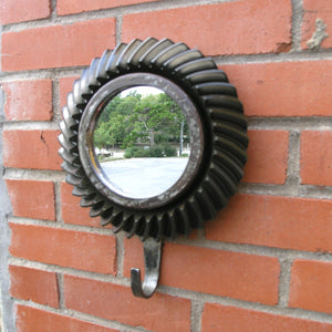 "9"" Industrial wall mirror with hat hook, upcycled salvaged beveled gear - PaulaArt"