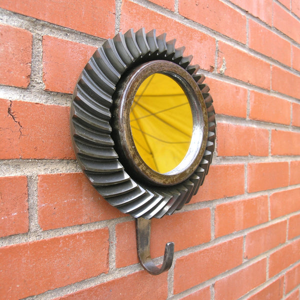 "9"" Industrial wall mirror with hat hook, side view"