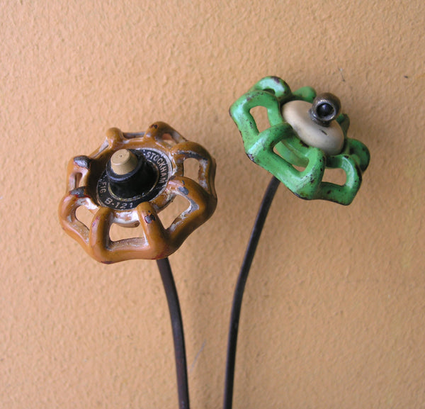 recycled faucet knob flowers