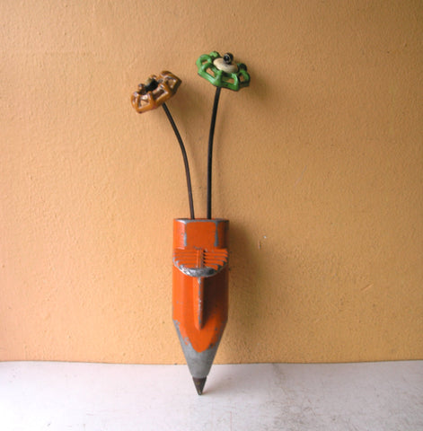 tripod leg pocket vase & two faucet handle flowers