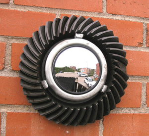 modern industrial wall mirror from beveled salvaged gear