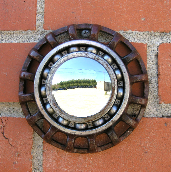 industrial wall mirror, upcycled faucet knob and gear