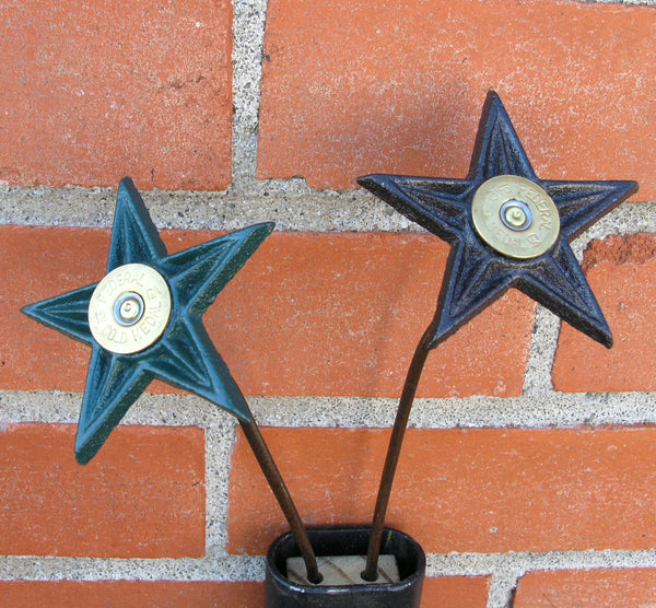 close up of cast iron star shotgun shell flowers