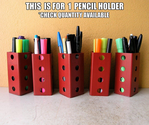 Red pencil holders, industrial office accessories