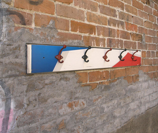 side view red white blue coat rack