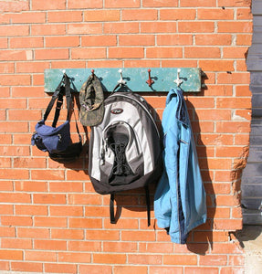 Industrial aqua coat rack, upcycled repurposed scrap metal