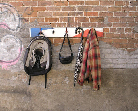 "Industrial coat rack for wall, 41"" long red white blue"