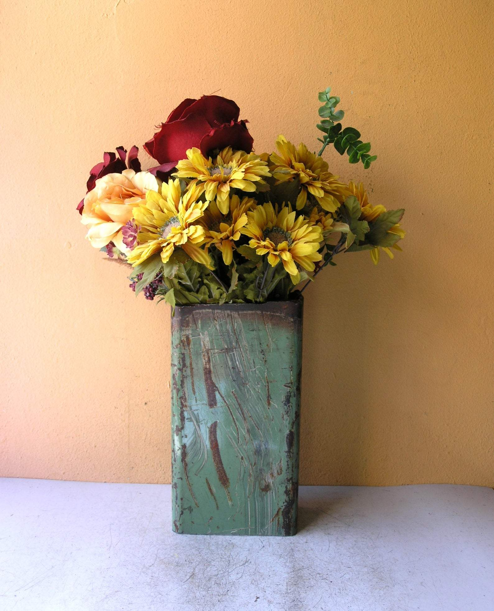 Industrial green flower vase for home or office table centerpiece