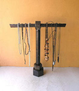 Industrial necklace stand, repurposed upcycled metal
