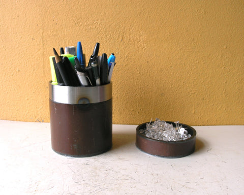 brown & silver desk set, industrial pencil holder and paperclip catchall