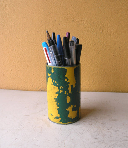 industrial green & yellow metal pencil holder made from upcycled sign post pipe