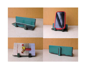 Metal business card holder, blue green industrial office organizer