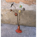 "34""tall wire brush on rebar flower"
